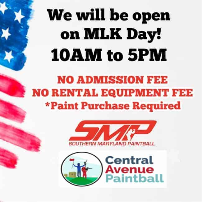 Come play paintball on MLK Day!